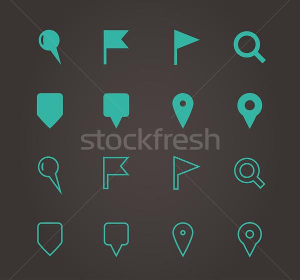 Gps navigatie iconen kaart teken groene Stockfoto © tkacchuk