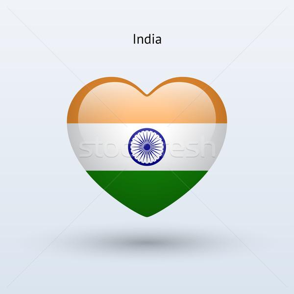 Amour Inde symbole coeur pavillon icône Photo stock © tkacchuk