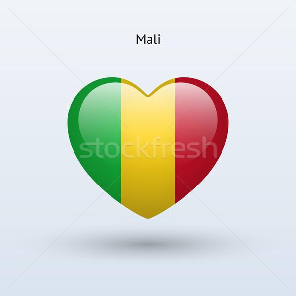Love Mali symbol. Heart flag icon. Stock photo © tkacchuk