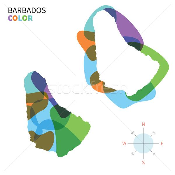 抽象的な ベクトル 色 地図 バルバドス 透明な ストックフォト © tkacchuk
