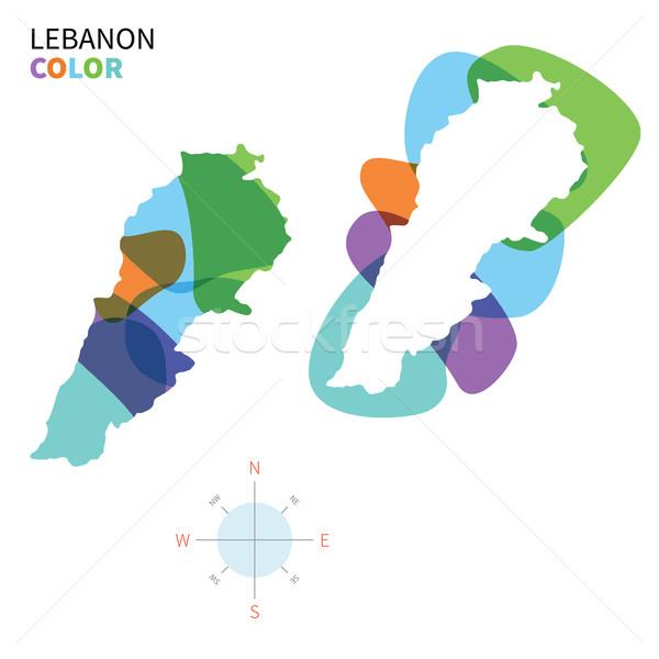 Absztrakt vektor szín térkép Libanon átlátszó Stock fotó © tkacchuk