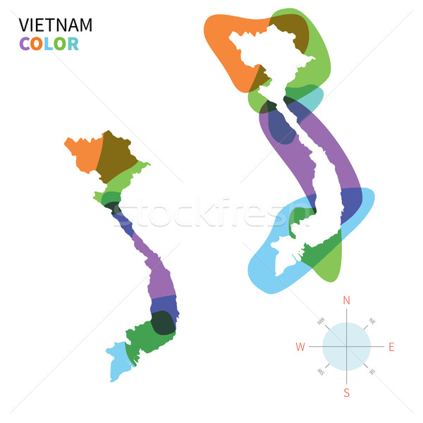 Abstract vector color map of Vietnam with transparent paint effect. Stock photo © tkacchuk