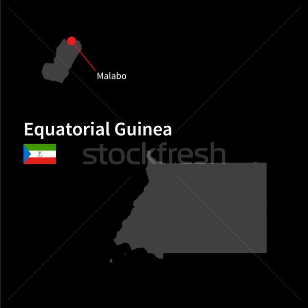 Detalhado mapa Guiné Equatorial cidade bandeira preto Foto stock © tkacchuk