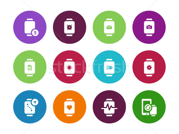 Watch with notifications circle icons on white background. Stock photo © tkacchuk