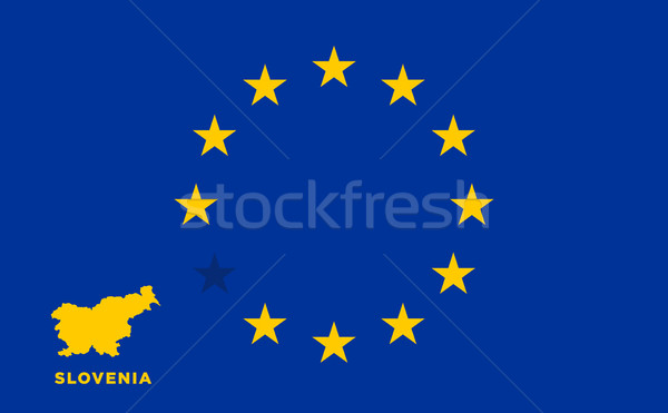 EU flag with Slovenia country. European Union membership Slovenia Stock photo © tkacchuk