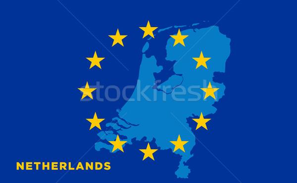Flag of European Union with Netherlands on background Stock photo © tkacchuk
