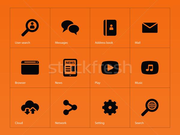 Web ikony pomarańczowy działalności wiadomości mail list Zdjęcia stock © tkacchuk