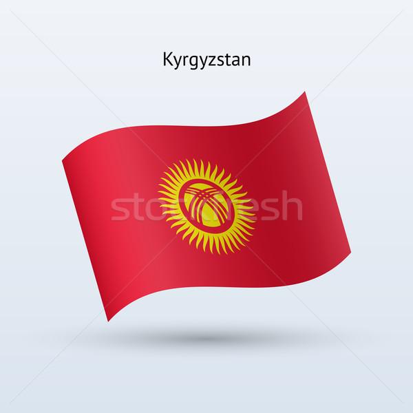 Kırgızistan bayrak form gri imzalamak Stok fotoğraf © tkacchuk