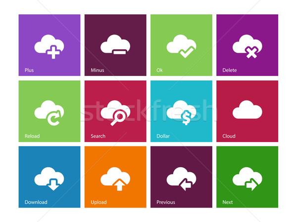 Chmura ikona kolor Internetu laptop technologii Zdjęcia stock © tkacchuk
