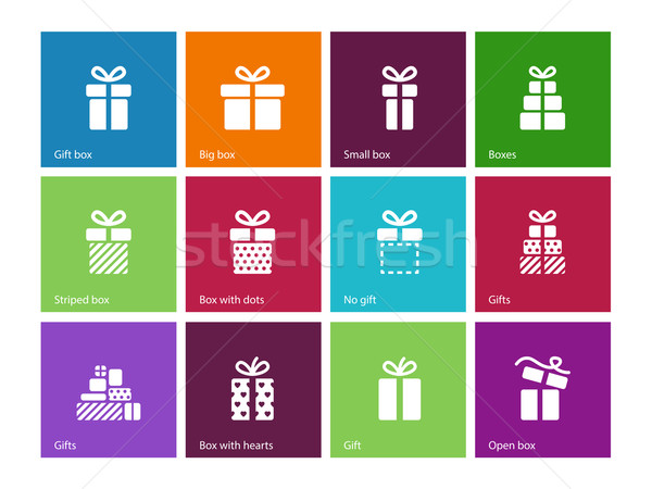 Stock photo: Gift box icons on color background.