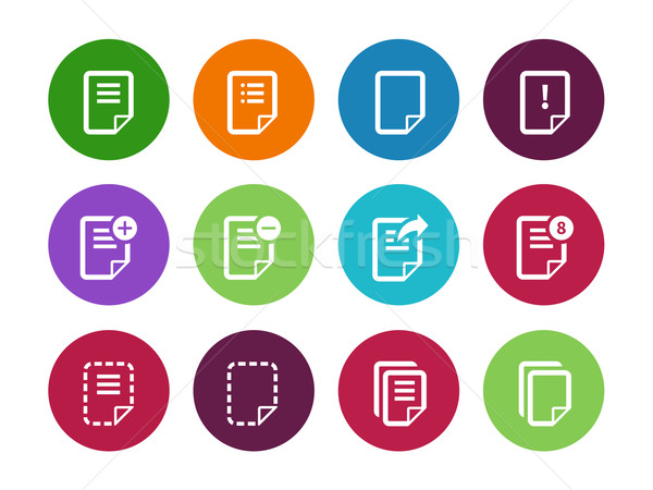 Notepad Document file and Note circle icons. Stock photo © tkacchuk