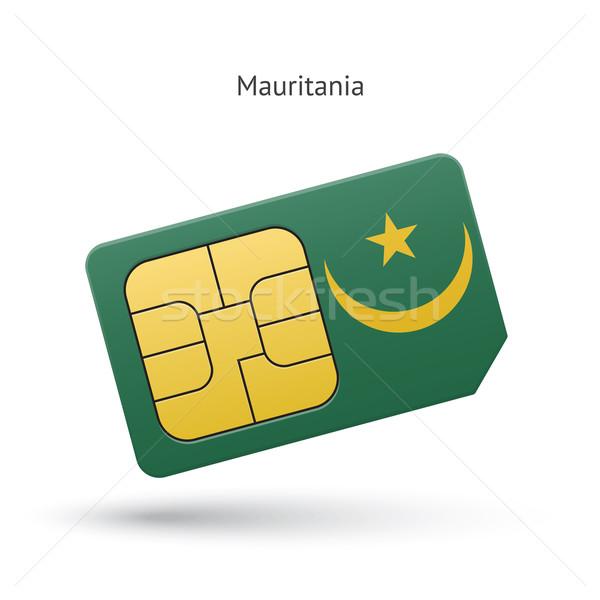 Mauritania mobile phone sim card with flag. Stock photo © tkacchuk