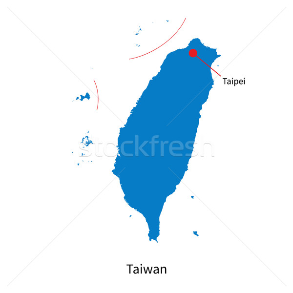 Detailed vector map of Taiwan and capital city Taipei Stock photo © tkacchuk