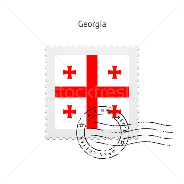 Grúzia zászló postabélyeg fehér felirat levél Stock fotó © tkacchuk