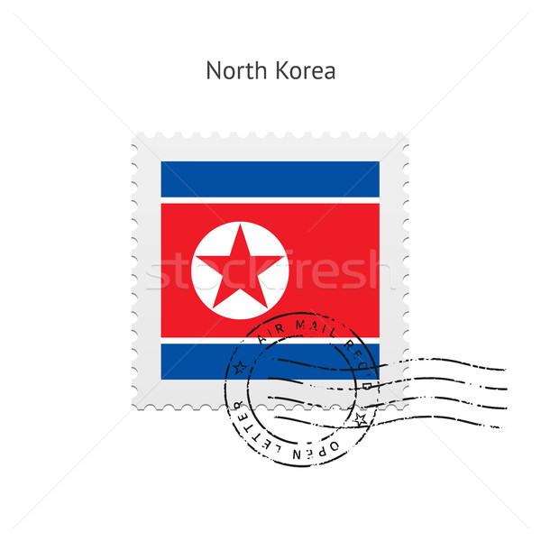 North Korea Flag Postage Stamp. Stock photo © tkacchuk