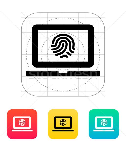 Laptop fingerprint icon. Stock photo © tkacchuk