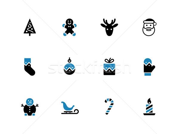 Christmas duotone icons on white background. Stock photo © tkacchuk