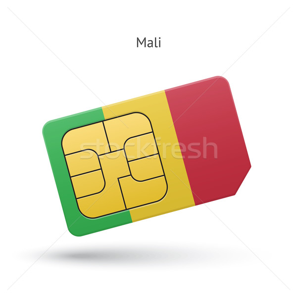 Mali mobile phone sim card with flag. Stock photo © tkacchuk