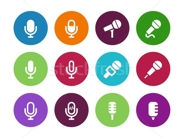 Microphone circle icons on white background. Stock photo © tkacchuk