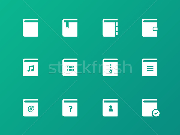 Book icons on green background. Stock photo © tkacchuk