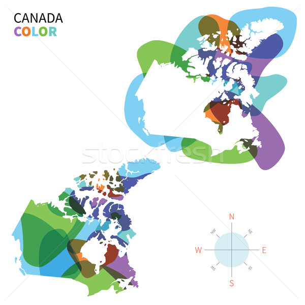 Abstract vector color map of Canada with transparent paint effect. Stock photo © tkacchuk