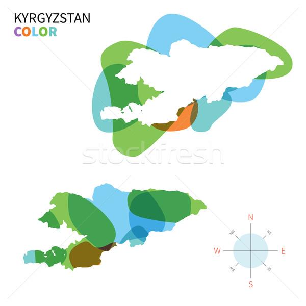 Soyut vektör renk harita Kırgızistan şeffaf Stok fotoğraf © tkacchuk