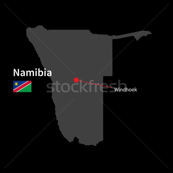 Ayrıntılı harita Namibya şehir bayrak siyah Stok fotoğraf © tkacchuk