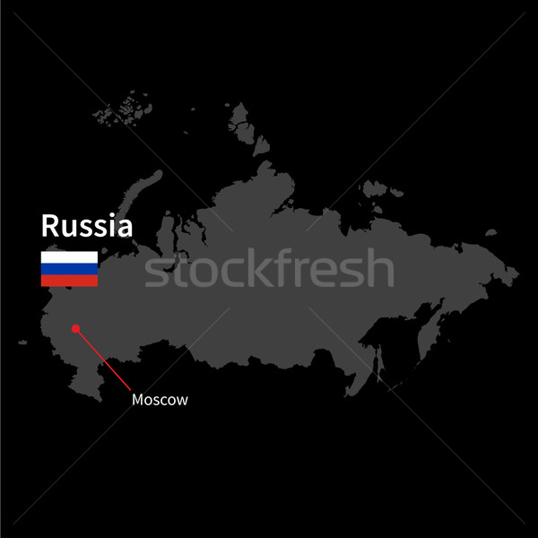 Detailed map of Russia and capital city Moscow with flag on black background Stock photo © tkacchuk