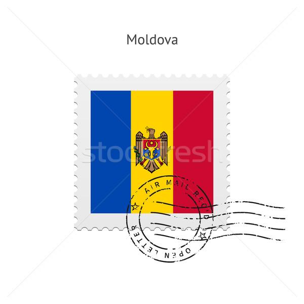 Moldova zászló postabélyeg fehér felirat levél Stock fotó © tkacchuk