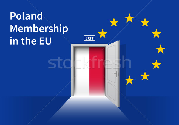European Union flag wall with Poland flag door. EU Flag. Stock photo © tkacchuk