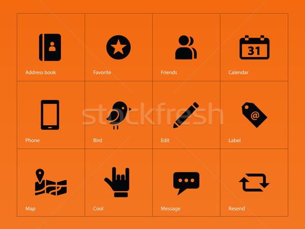 Social iconos naranja mapa pluma diseno Foto stock © tkacchuk
