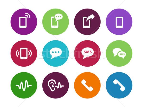 Telefon kör ikonok fehér üzlet háló Stock fotó © tkacchuk
