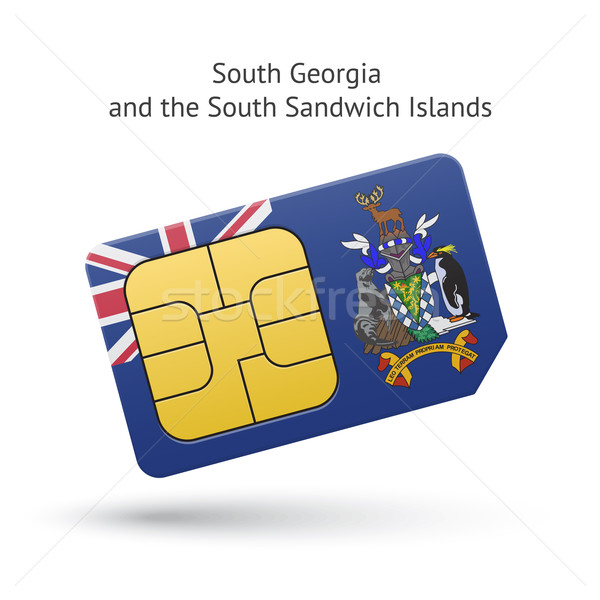 South Georgia and Sandwich Islands phone sim card with flag. Stock photo © tkacchuk