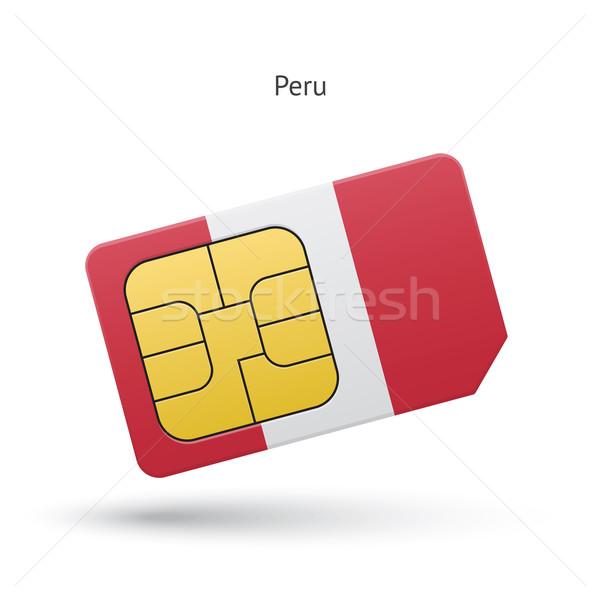 Peru telefone móvel cartão bandeira negócio projeto Foto stock © tkacchuk