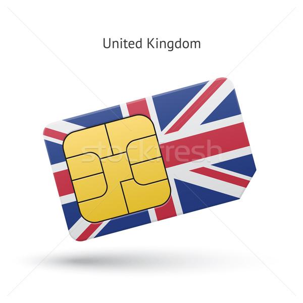 Egyesült Királyság mobiltelefon kártya zászló terv technológia Stock fotó © tkacchuk