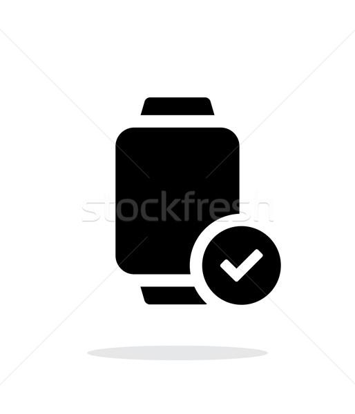 Imzalamak akıllı izlemek basit ikon beyaz Stok fotoğraf © tkacchuk