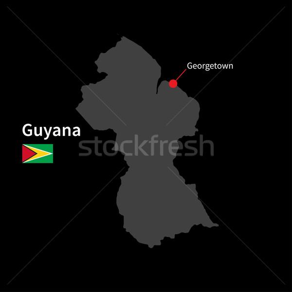 Részletes térkép Guyana város zászló fekete Stock fotó © tkacchuk