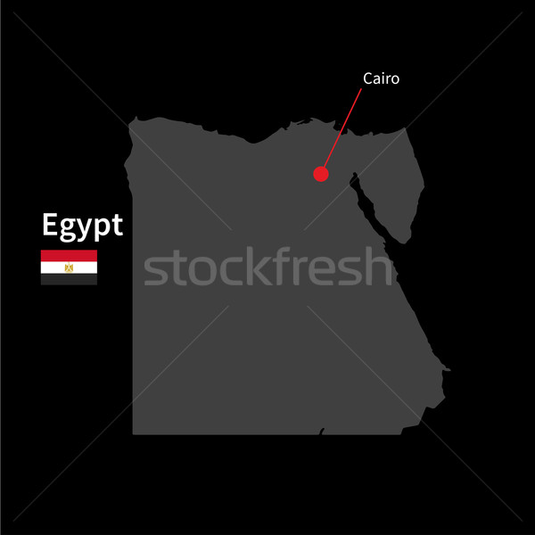 Detailed map of Egypt and capital city Cairo with flag on black background Stock photo © tkacchuk