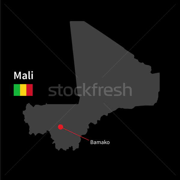 Detailed map of Mali and capital city Bamako with flag on black background Stock photo © tkacchuk