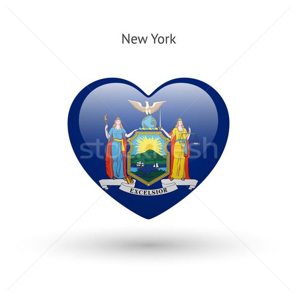 Love New York state symbol. Heart flag icon. Stock photo © tkacchuk