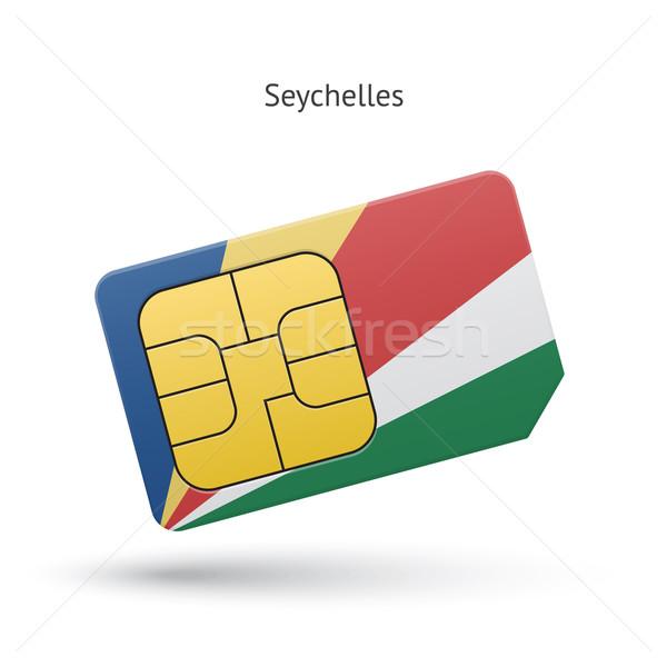 Seychelle-szigetek mobiltelefon kártya zászló üzlet terv Stock fotó © tkacchuk