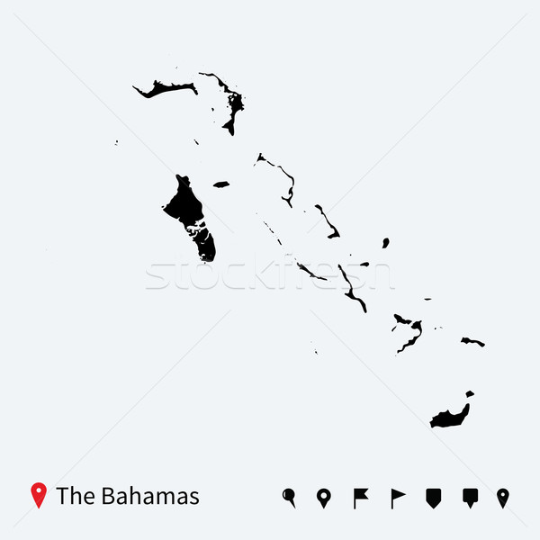 High detailed vector map of Bahamas with navigation pins. Stock photo © tkacchuk