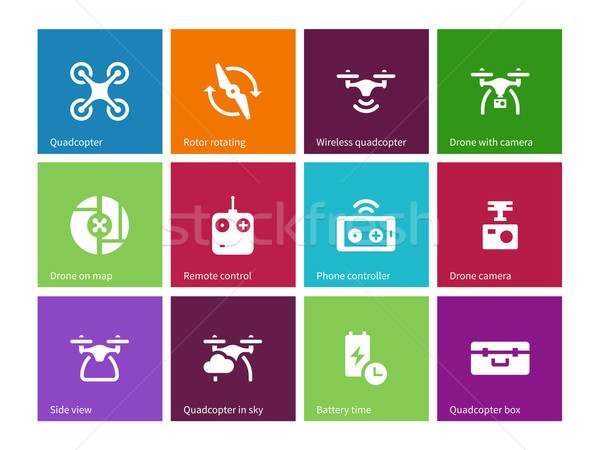 Components and equipment for quadrocopter icons on color background. Stock photo © tkacchuk