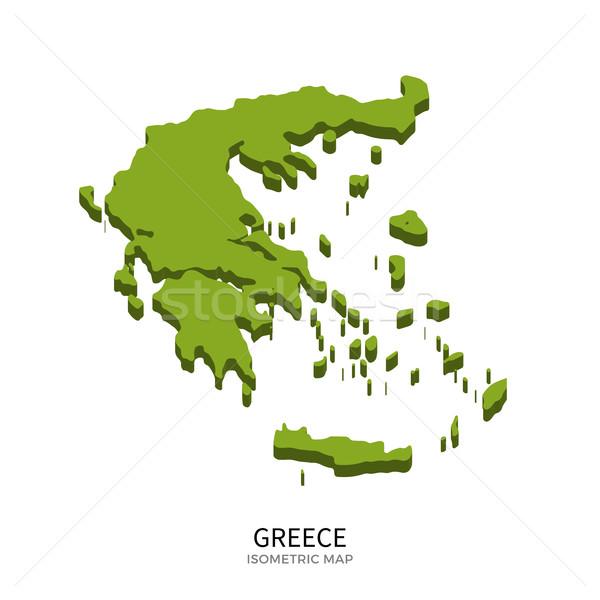 アイソメトリック 地図 ギリシャ 詳しい 孤立した 3D ストックフォト © tkacchuk