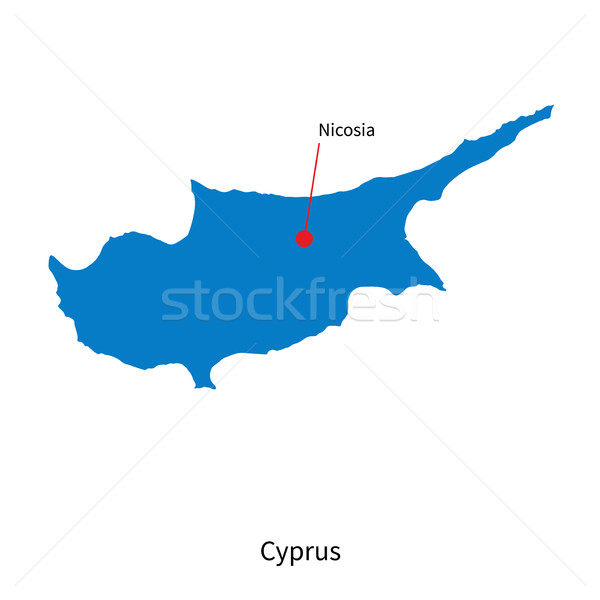 Detailed vector map of Cyprus and capital city Nicosia Stock photo © tkacchuk