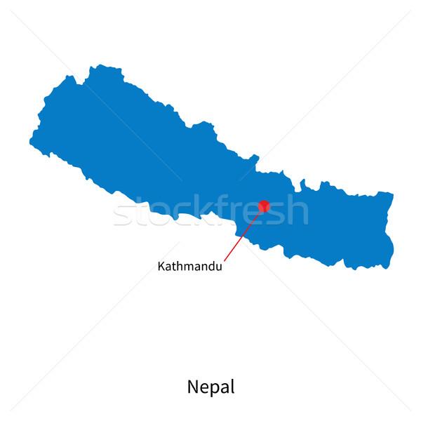Detailed vector map of Nepal and capital city Kathmandu Stock photo © tkacchuk