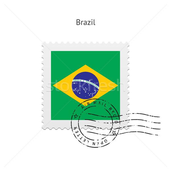 Brazil Flag Postage Stamp. Stock photo © tkacchuk