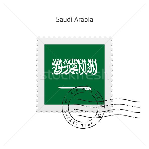 Szaúd-Arábia zászló postabélyeg fehér felirat levél Stock fotó © tkacchuk