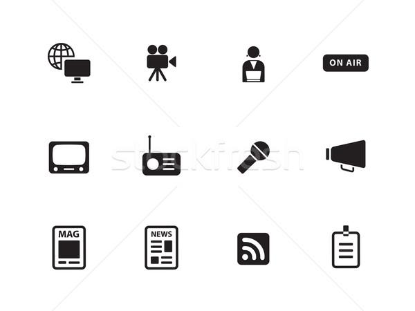 メディア アイコン 白 デザイン マイク にログイン ストックフォト © tkacchuk