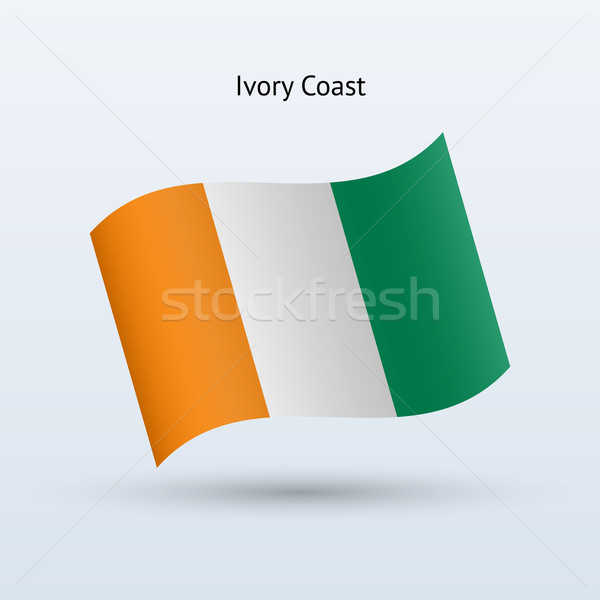 Stock fotó: Elefántcsontpart · zászló · integet · űrlap · szürke · felirat